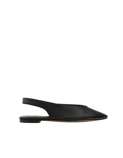 Black leather slingback ballerinas