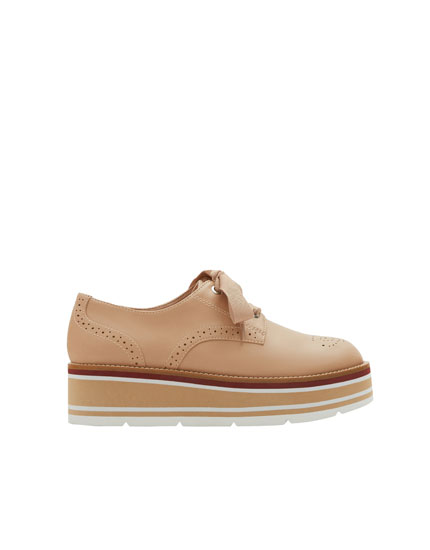 Nude chunky sole bluchers with broguing