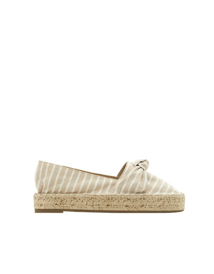 Striped nude jute espadrilles