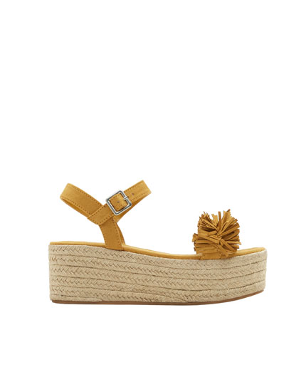 Embellished mustard yellow jute wedges