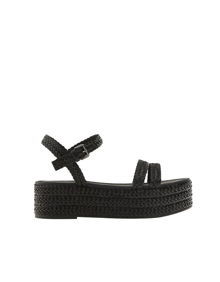 Plaited chunky sole sandals