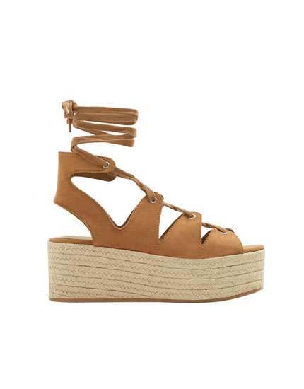 Lace-up jute wedges
