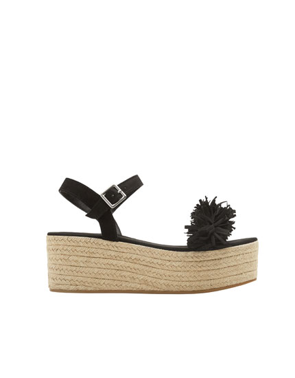 Embellished black jute wedges