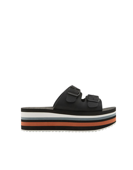 Black sandals with double buckle