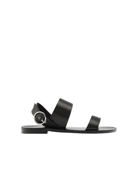 Black leather strap sandals