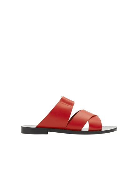 Red leather strap sandals