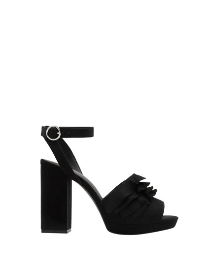 Ruffled high heel sandals