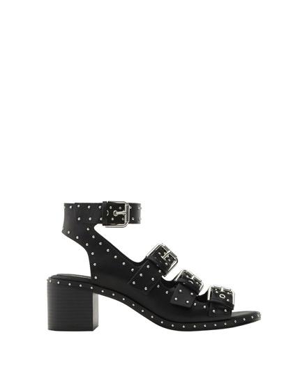 High heel studded sandals
