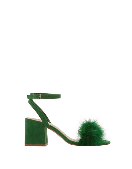 Sandals with feather detail