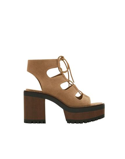 Block heel loop cut out sandals