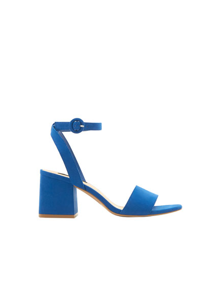 Blue mid-heel sandals with ankle strap