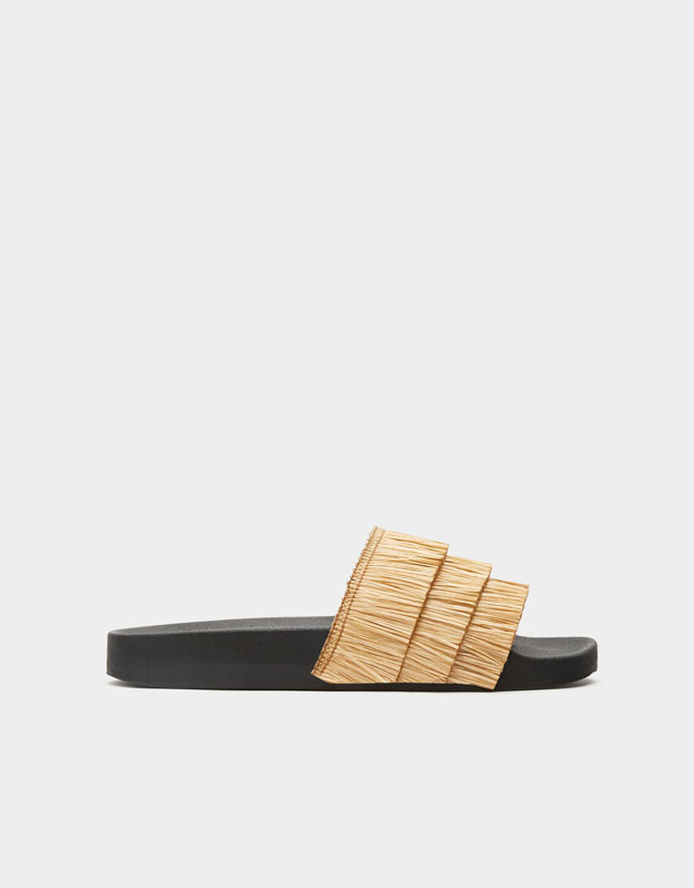 Slides With Fringe by Pull & Bear