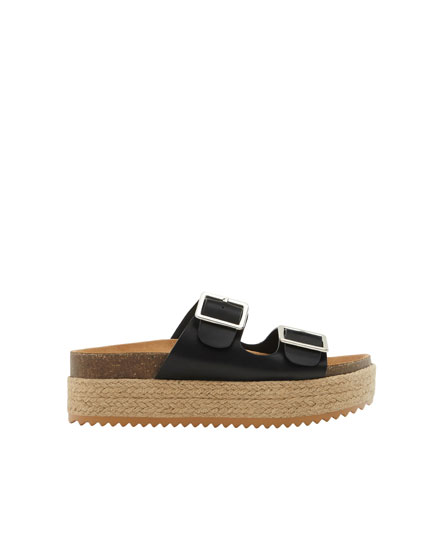Black jute sandals with buckles