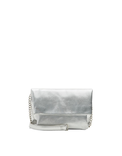 Metallic crossbody bag with flap and chain strap