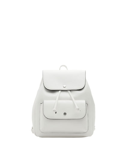 White urban backpack with pocket