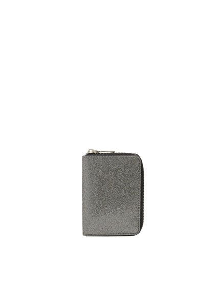 Cartera brillo gris