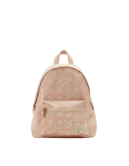 Printed fabric backpack