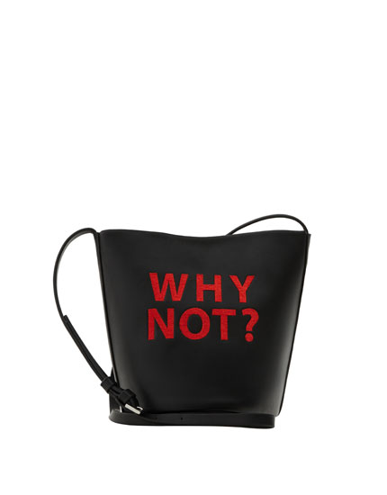 Crossbody bag with slogan