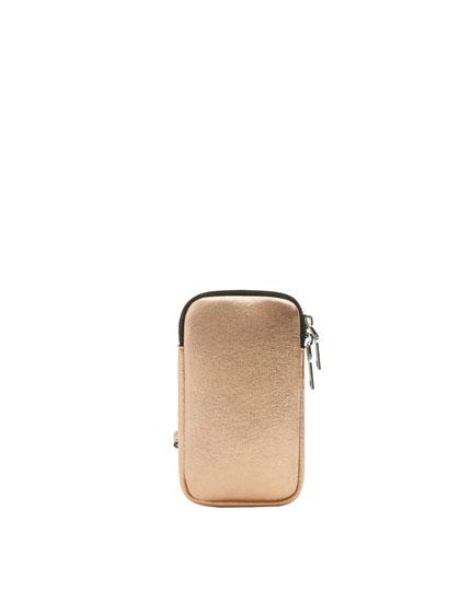 Metallic copper mobile phone pouch bag