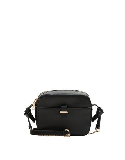 Mini black crossbody bag with knot details