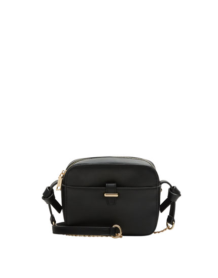 Mini black crossbody bag with knot details