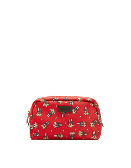 Embellished print toiletry bag