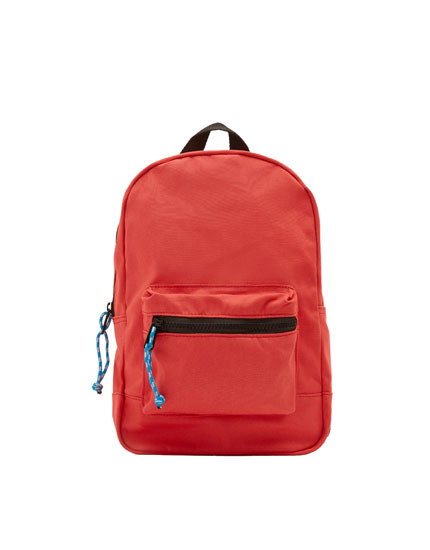 Coral backpack with contrasting zip