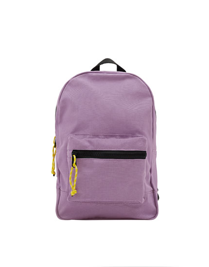 Rucksack mit kontrastfarbenem Reißverschluss in Lila