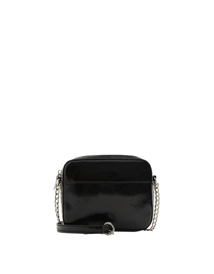 Mini black faux patent leather crossbody bag