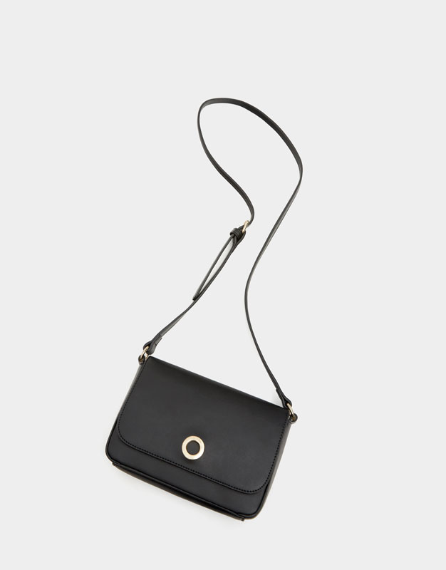 Mini black crossbody bag with round clasp