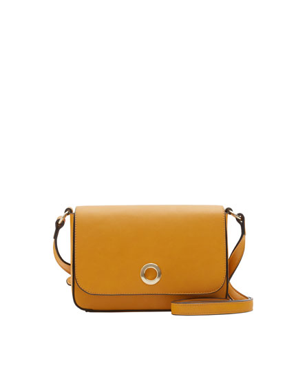 Mini mustard yellow crossbody bag with round clasp