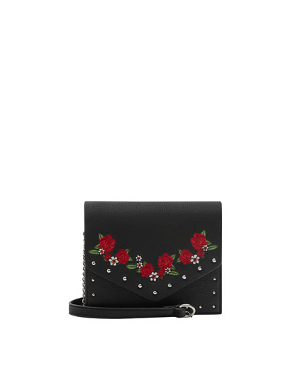 Crossbody bag with embroidery and stud details