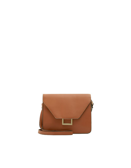 Brown crossbody bag with metal detail