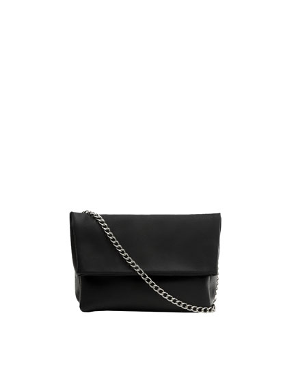 Black crossbody bag with flap and chain strap