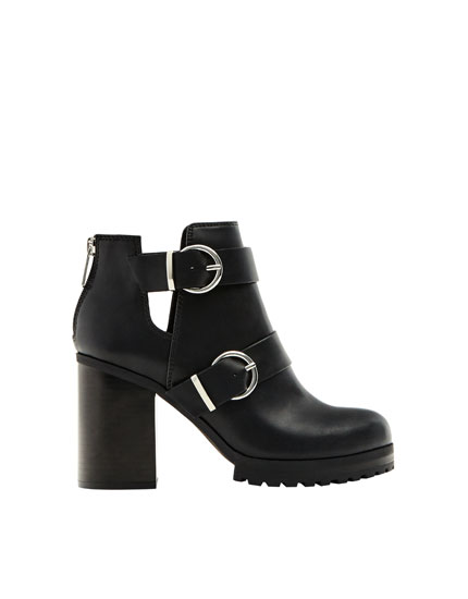 High heel double buckle ankle boots