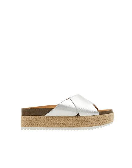 Sliver jute sandals
