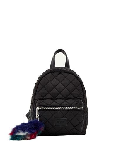 Mini mochila acolchada negra
