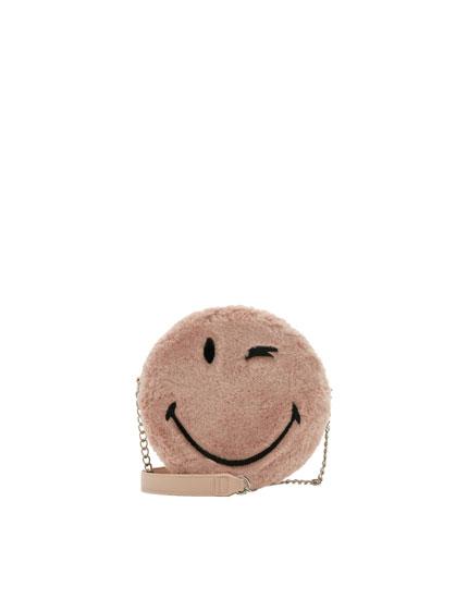 Smiley faux fur crossbody bag