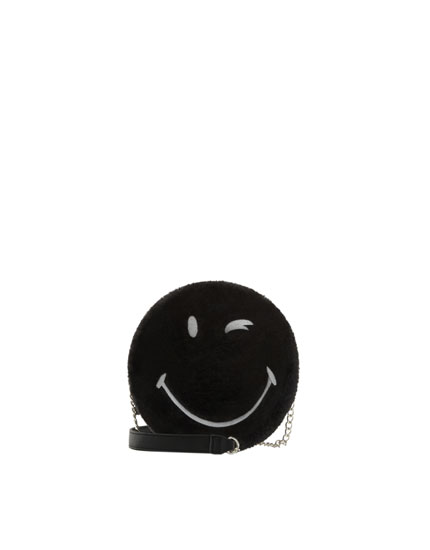 Smiley faux fur crossbody bag