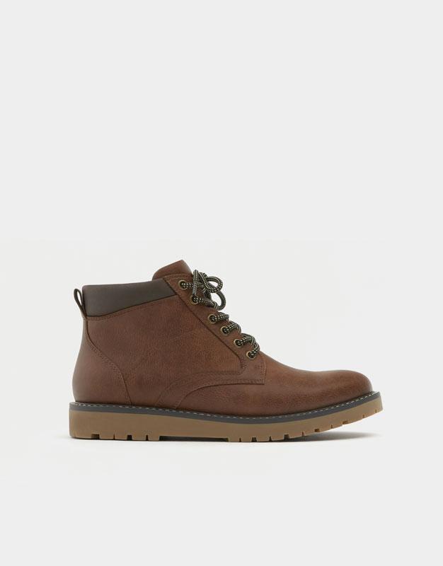 Flatform boots with zip , BROWN ...