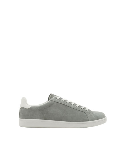 Grey split suede sneakers