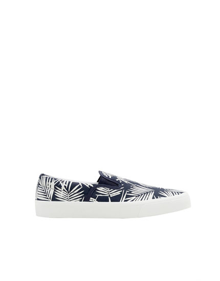 Tropical print stretch plimsolls