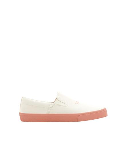Sneaker mit Gummizug und Laufsohle in Rosa