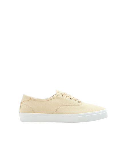 Beige cotton sneakers