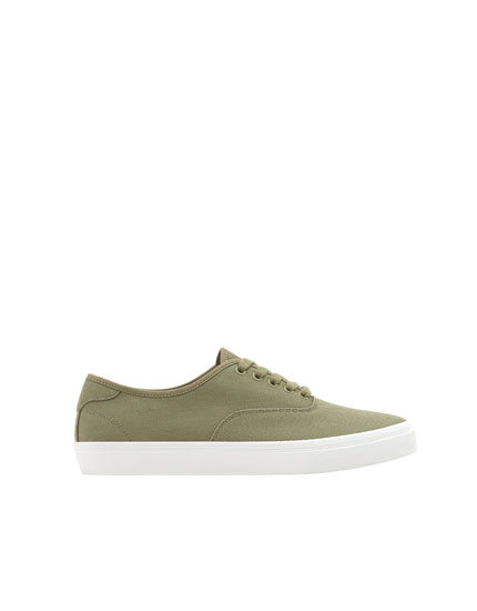 Green cotton sneakers