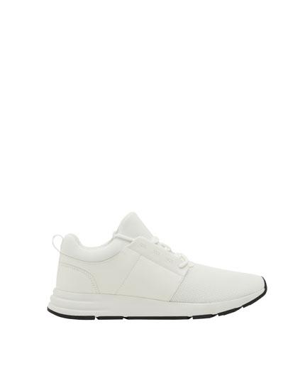 Pantofi sport stretch albi