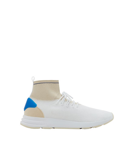 Stretch sock-style high top sneakers