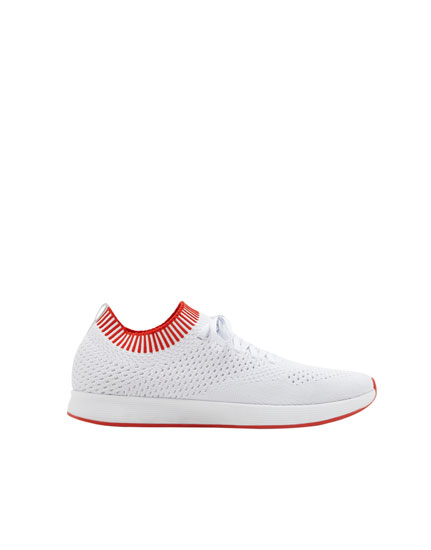 White fabric sock-style sneakers
