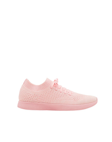 Pink fabric sock-style sneakers