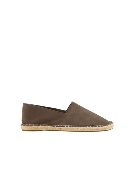 Grey split suede and jute espadrilles